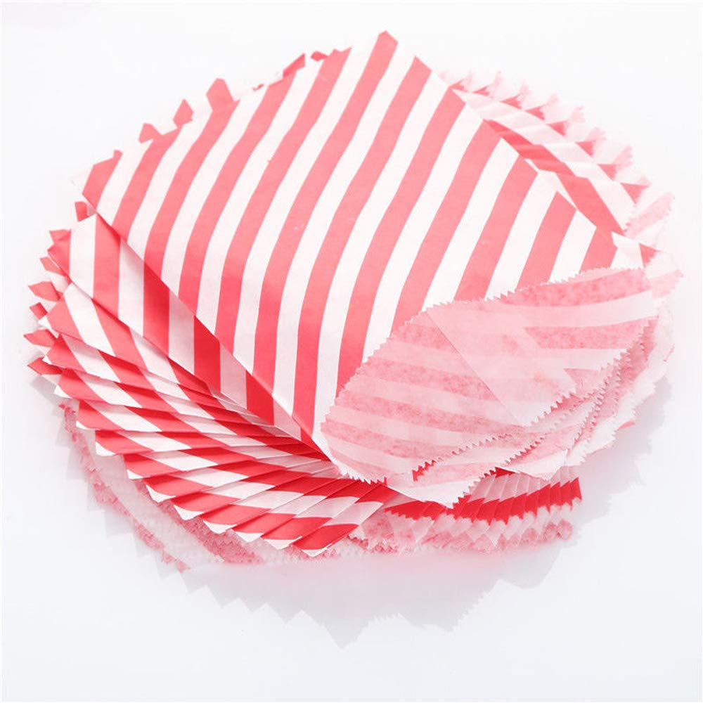Tvoip 50 Pcs 5 x 7 Inches White and Red Striped Paper Bags,Holiday Wedding Christmas Favor Candy Treat Bags