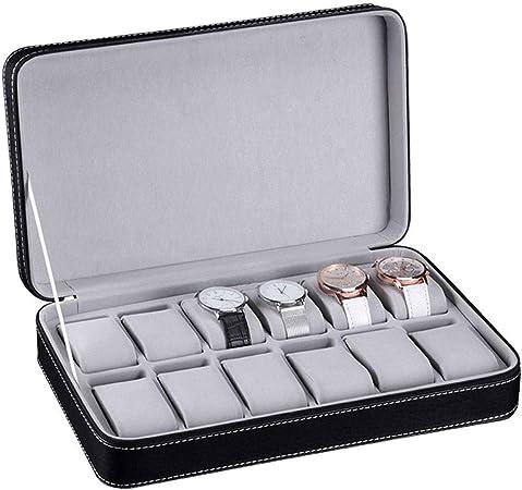La Caja del Reloj con Cremallera 12 Organizador De Estuche De Cuero De La PU De La Rejilla con El Cajón De La Joyería para El Almacenamiento Y La Exhibición En Negro:
