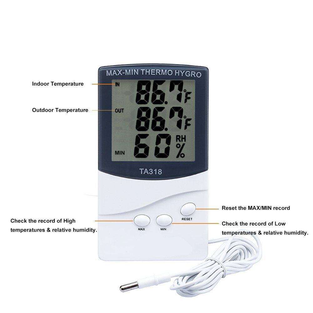 Digital Indoor Hygrometer Thermometer,Temperature Humidity Sensor, Home Comfort Monitor with MIN/MAX Records,Large LCD Screen,Alarm Clock, ℃/℉ Switch for Home, Office