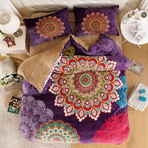 LELVA Bohemian Flannel Bedding, Boho Bedding Set, Bohemian Duvet Cover Set, Queen King Size 4pcs (1, Queen)