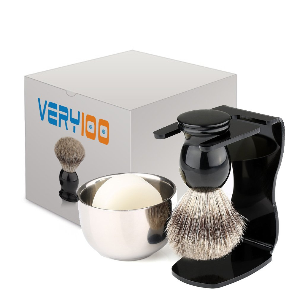 4 IN 1 Shaving Brush Kit, Arcylic Razor Stand 4.3