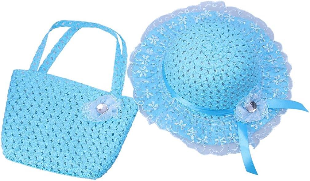 Jtc Kids Girls Straw Sun Hat Handbag Children Beach Caps Sombrero Hat Green