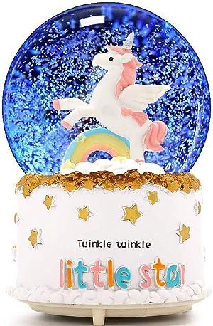 VECU Unicorn Snow Globe, 100 MM Automatic Snowfall Cartoon Rainbow Music Box Home Decoration for Girls Kids Granddaughters Babies Birthday Gift, Musical, Resin/Glass (Automatic Snowfall)