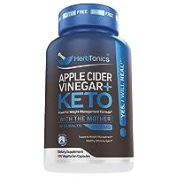 5X Potent Apple Cider Vinegar Capsules Plus Keto Bhb - Fat Burner and Weight Loss Supplement Detox for Women and Men 120 Vegan Pills