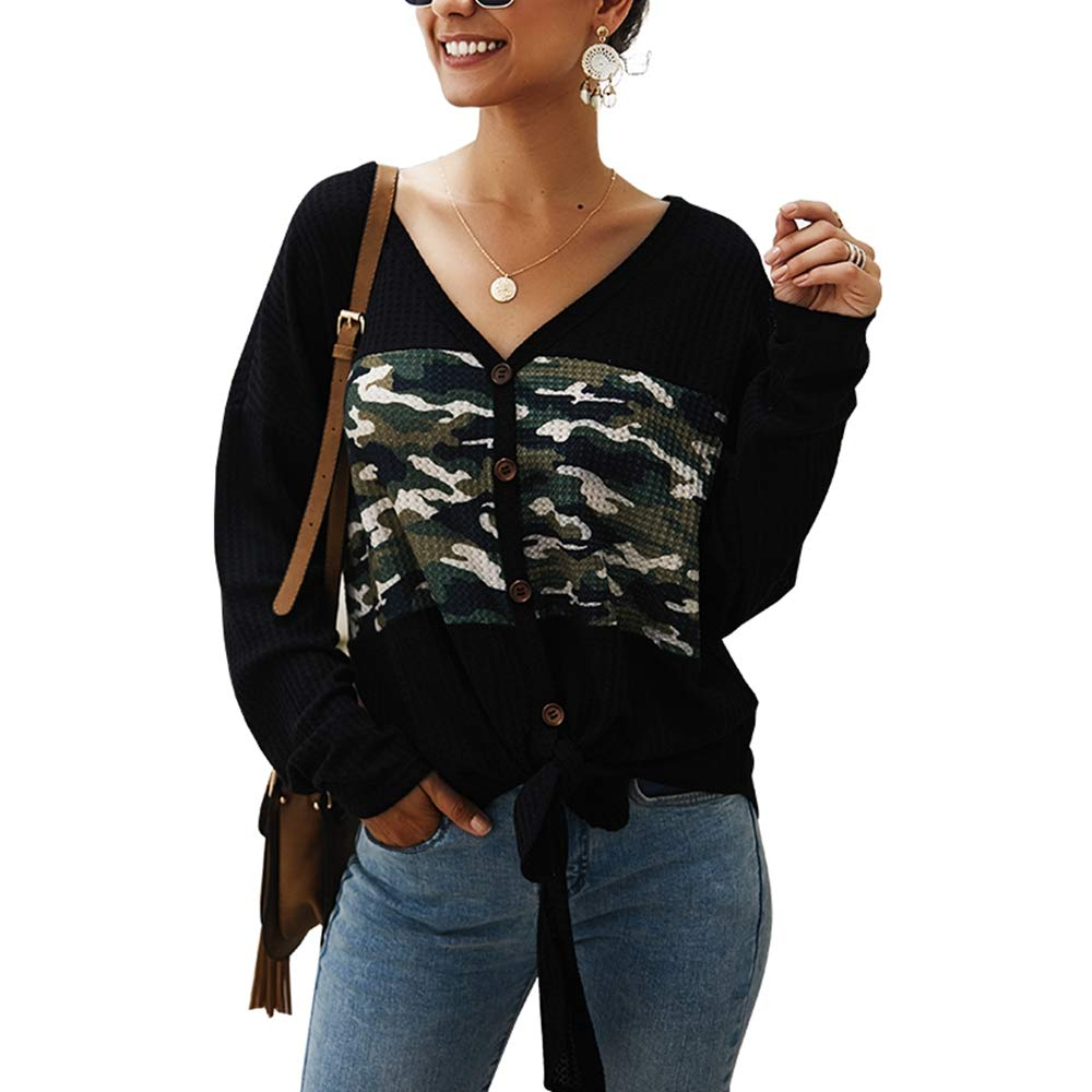 Women's Casual Waffle Lightweight Knit Sweater Tops,Long Sleeve Camouflage V Neck Button Down Front Tie Loose Blouse Shirts by KINGLEN Womens Top
