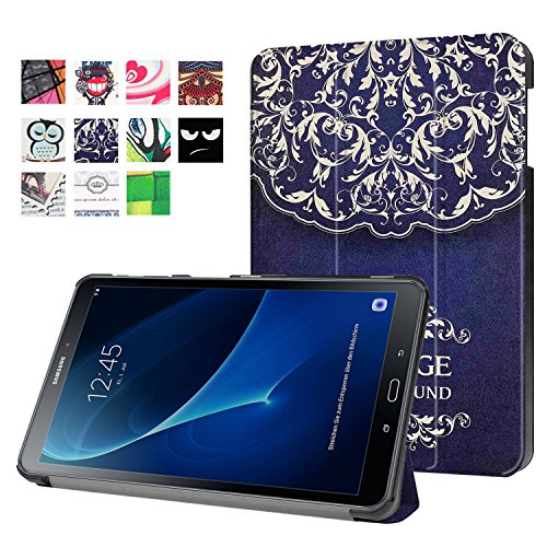 Samsung Galaxy Tab A 10.1 Case, TOPBIN Light Weight Smart Case Trifold Stand with Auto Sleep/Wake, Hard Back Cover for Samsung 10.1 Inch Tablet SM-T580 T585 2016 NO S Pen Version (Flower Vine)
