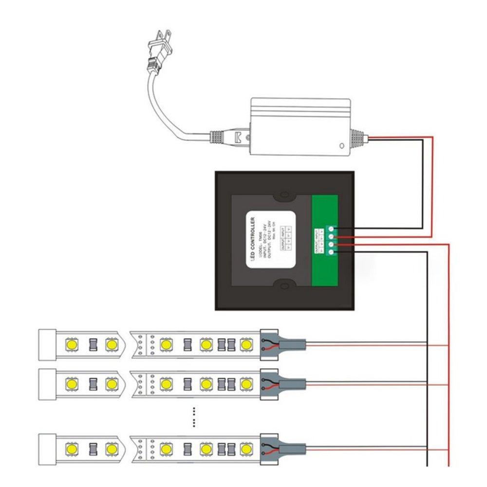 RGBZONE DC12V-24V 8A Wall-mounted Touch Panel Brightness Adjustable Dimmer for Single Color LED Light Strip, Black