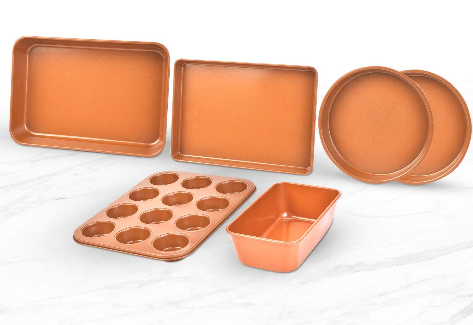 Bakeware Set 6 PCS Nonstick Copper Cooking Cake Pan Meatloaf Muffin Cups by GPM (Image #3)