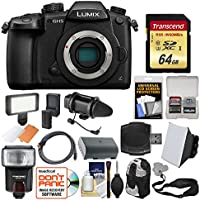 Panasonic Lumix DC-GH5 Wi-Fi 4K Digital Camera Body with 64GB Card + Case + Flash + Battery + Mic + Video Light + Strap + Kit