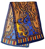 Alysee Women Silk Paisley Long Scarf Shawl Wrap Color Royal Blue