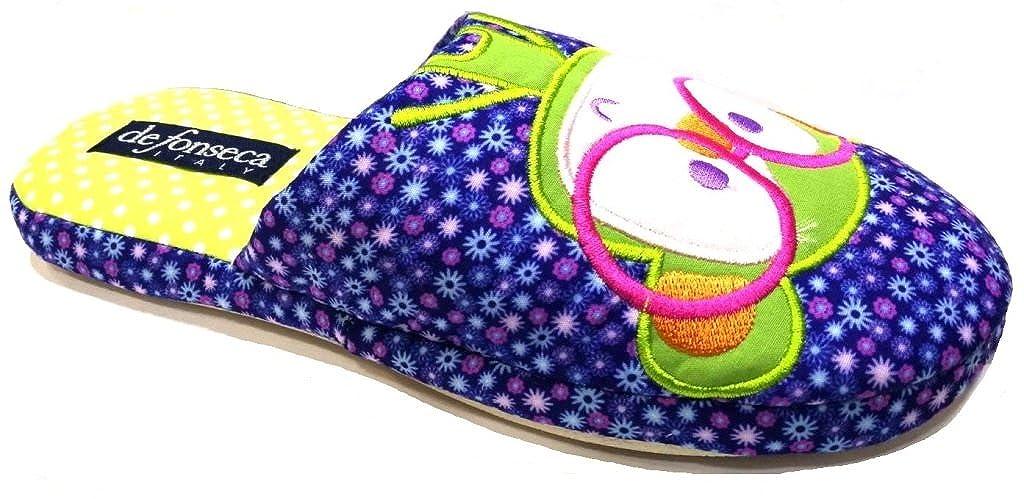 De Fonseca Ciabatte Pantofole Cotone da Donna MOD. Roma Top W327 Blu -