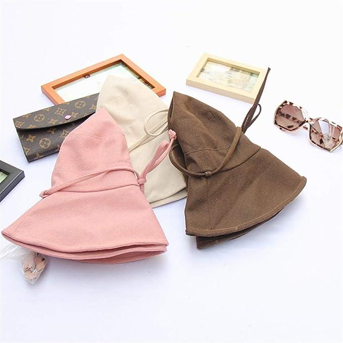 WU Chapeau Dames D/Ét/é Tissu Chapeau Japonais Couleur Unie Coton Lin P/êcheur Chapeau Bassin Chapeau Pliant Noir