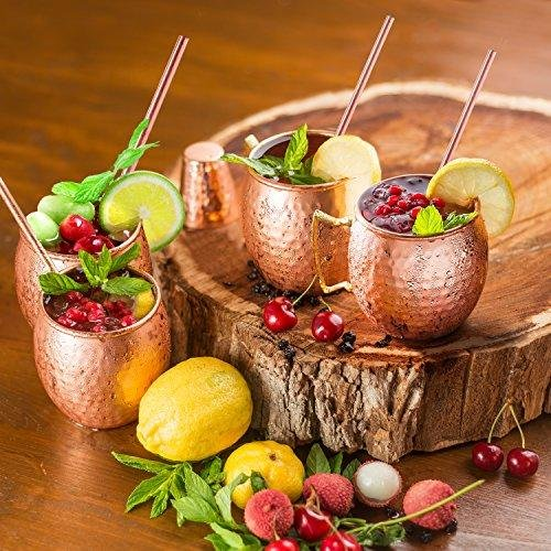 Azzel Copper Drinking Straws Gift Set Authentic Reusable Straight Perfect for Moscow Mule Cocktails (Set of 4), 8.5Inch, by Azzel (Image #4)