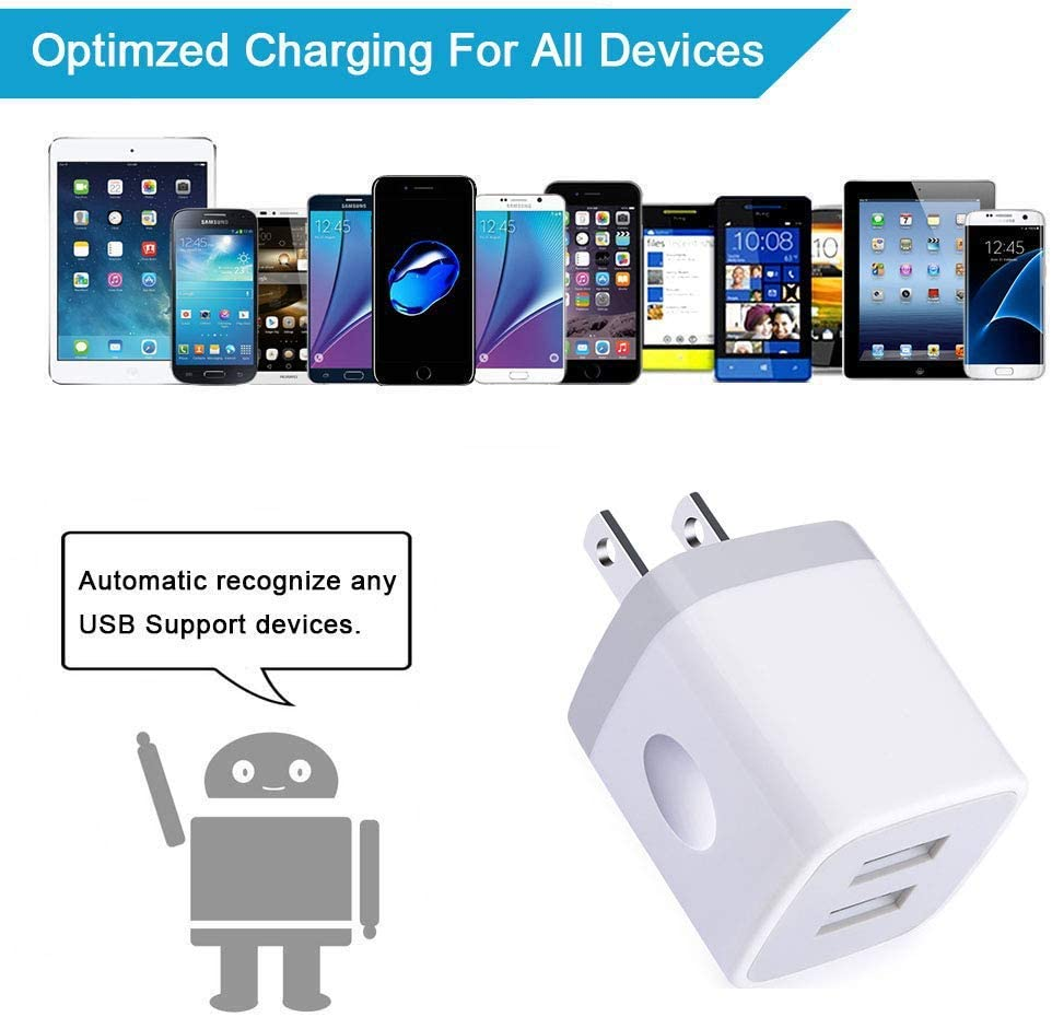 USB Wall Charger Note 10//9//8 Samsung Galaxy A10e A50 A80 S10 S9 S8 Plus 4Pack 2.1A Quick Dual Port Plug Charger Box Adapter Compatible with iPhone 11 Pro Max//XS Max//XR//X//8//7//6 Plus Charging Block