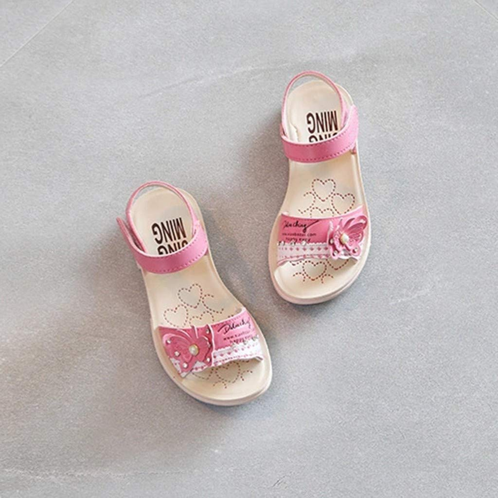 Huifa 2019 Summer Infant Baby Girls Butterfly Crystal Pearl Sandals Princess Beach Shoes