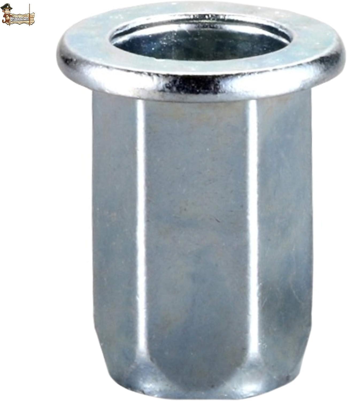 Hexagonal cincada 10, M/étrica 4 BricoLoco Tuerca remachable M4-M10 Antirotaci/ón Varias medidas y envases. Remache roscado
