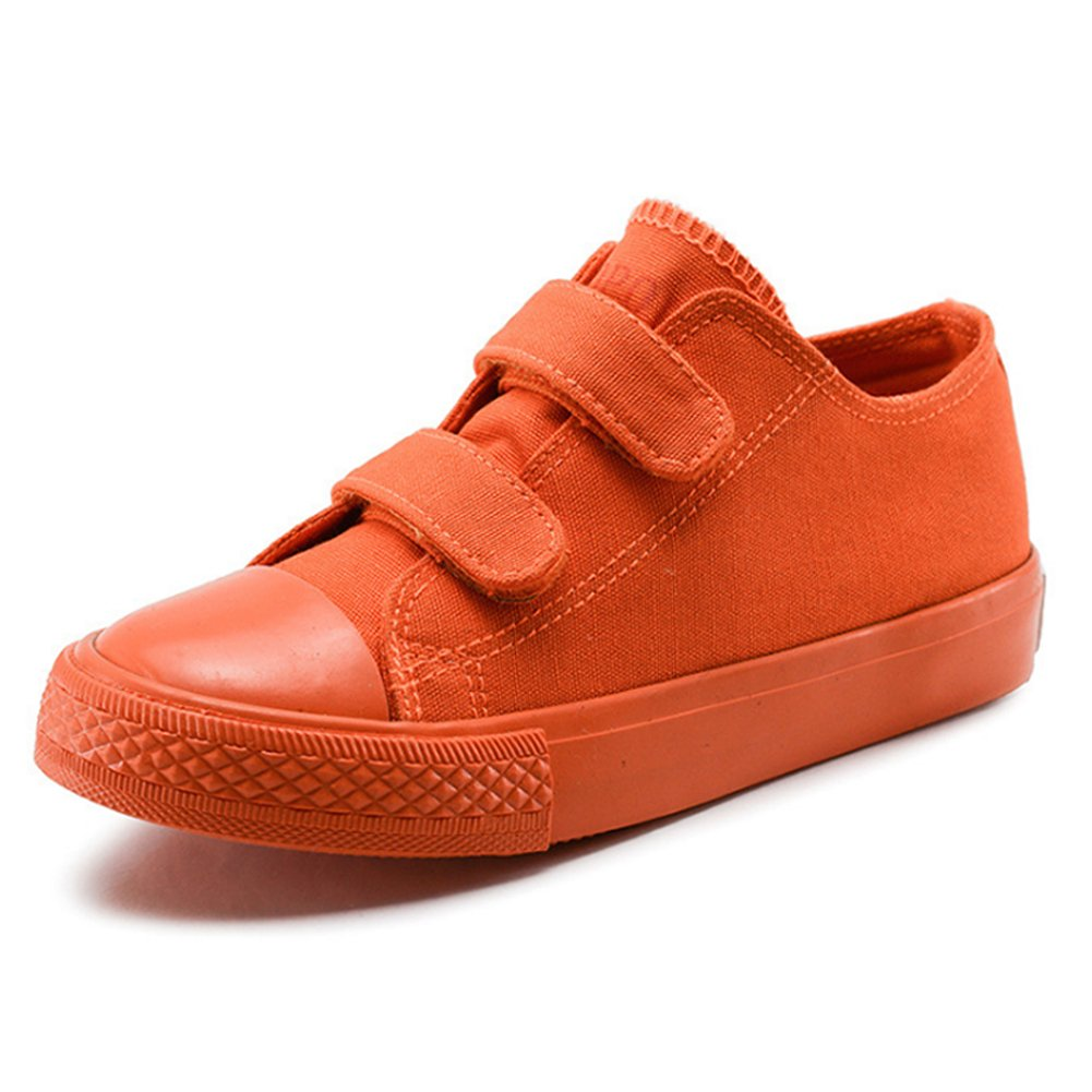 Boy's Girl's Low-Top Casual Strap Canvas Sneakers, Orange, Big Kid, Size 6