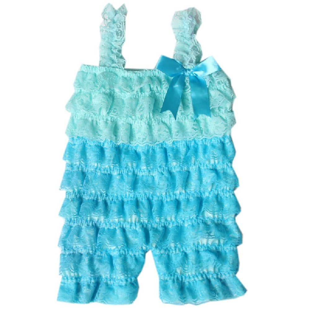 Zcaynger Baby Girls Clothes Lace Romper Spaghetti Ruffle Tiered Jumpsuit