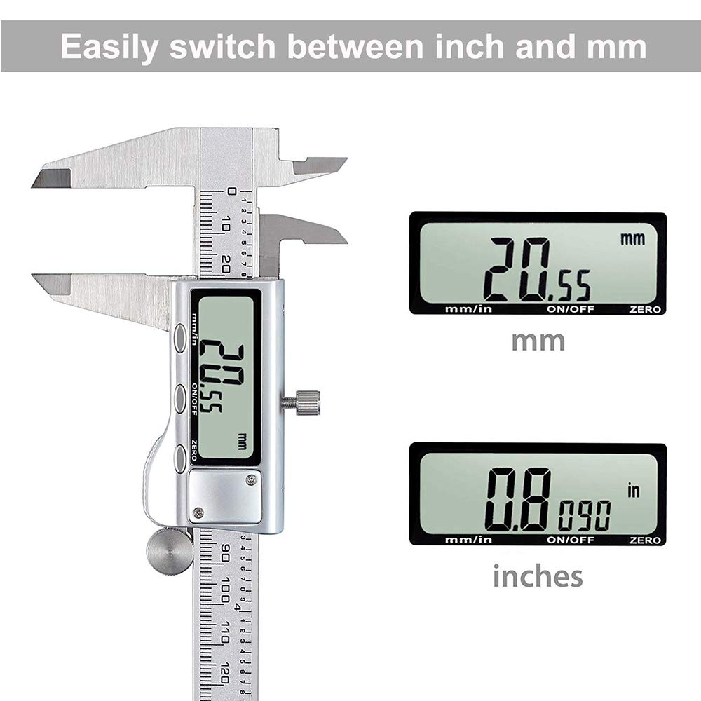 0-6/'/' Metric Inch Conversion Depth Gauge Measuring Tools 0-150mm Stainless Steel Vernier Caliper with Extra-Large LCD Display Screen Alacrit Electronic Digital Caliper