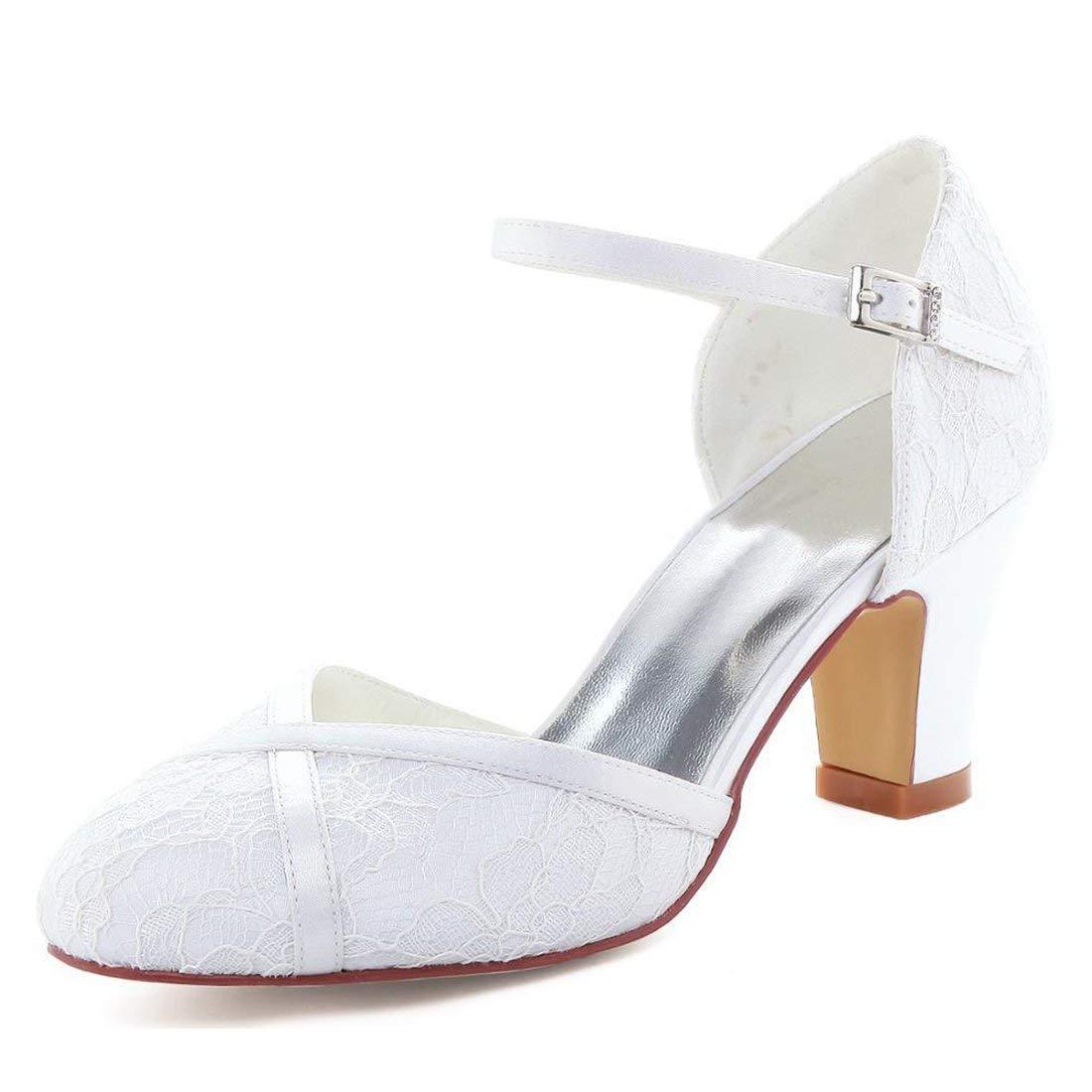 Qiusa Damen Mandel Toe Chunky Med Ferse Spitze Braut Hochzeit Pumps (Farbe   Weiß-6cm Heel, Größe   5 UK)