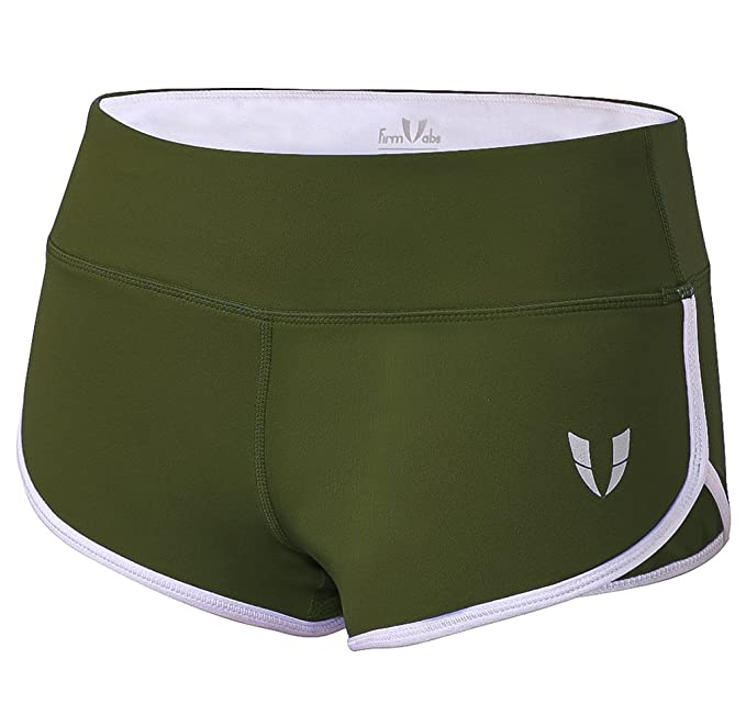 a4d7c6ceb5 FIRM ABS Women's Tummy Control Fitness Running Shorts Yoga Shorts Army Green