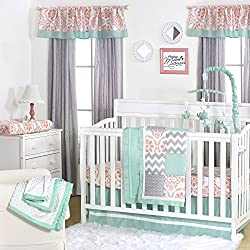 Mint, Coral Pink and Grey Patchwork 4 Piece Baby Crib Bedding Set by The Peanut Shell