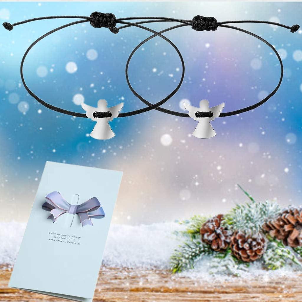 Pour 2 femmes et filles Avec ange porte-bonheur Arbre de vie Bracelet tress/é Bracelet de protection pour femme Bracelet r/églable