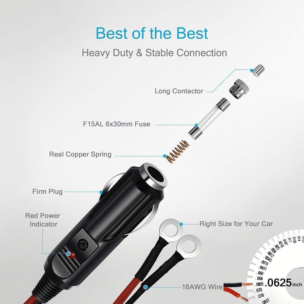 0,9 m cavo di prolunga clip-on per batteria auto adattatore con luci a LED 12 V//24 V presa da maschio a morsetti a coccodrillo GTIWUNG Presa Accendisigari per Auto