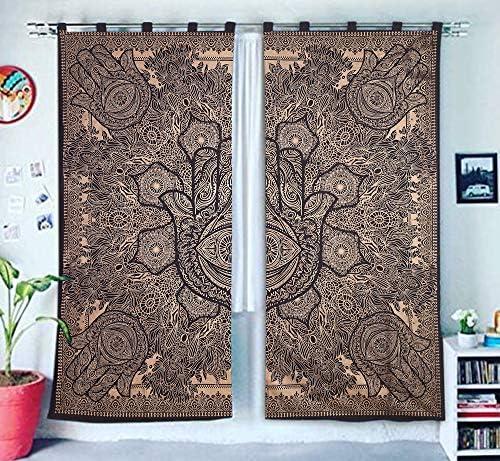 GANESHAM Indio Tapiz tratamientos para Ventanas algodón Conjunto de 2 Paneles Cortina de Puerta balcón Escarpado tabique Cortina de la Ducha (Naranja): Amazon.es: Hogar