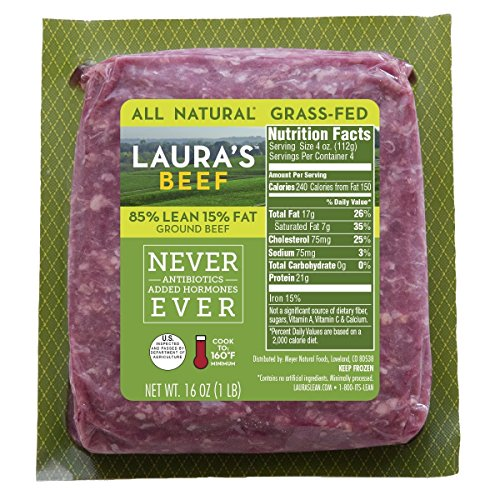 Laura's Lean 85% Grass Fed Ground Beef - 1lb bricks - 8 per case, no added hormones or antibiotics ever, humanely handled, frozen, bulk pack, all natural ()