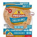 Mission Carb Balance Fajita Whole Wheat Tortillas, Low Carb, Keto, 8 Count - 2 Packs