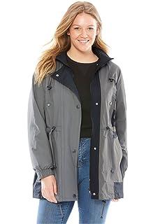 43d346a9160 Amazon.com  Woman Within Plus Size Packable Anorak Raincoat - Black ...