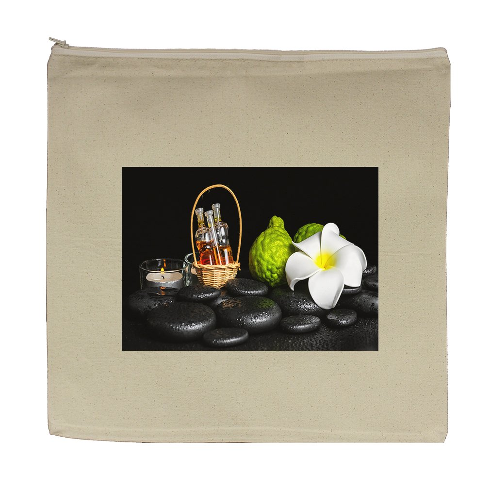 Canvas Zipper Pouch Tote Bag 5.5''X7.5'' Aromatic Spa Set Bergamot Fruits Candles