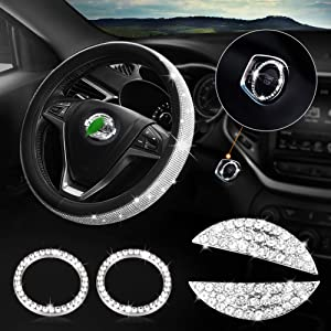 Diamond Bling Steering Wheel Cover for Women Universal Fit 15 Inch, Bling Sticker Steering Wheel Emblem Accessories Compatible with Nissan Rogue, Maxima, Altima, Sentra, Kicks, Versa,Titan