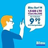 Blau Surf M (SIM, Micro-SIM und Nano-SIM), ohne Vertragslaufzeit, 1,5 GB mit LTE, 9 Cent pro Min./SMS in alle dt. Netze, EU-Vorteil, 9,99€/Monat, inkl. 10€ Startguthaben, O2 Netz