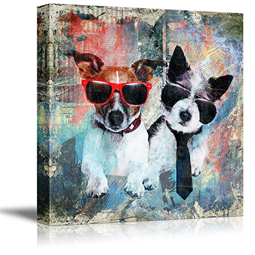 wall26 - Square Dog Series Canvas Wall Art - Retro Style Painting of Two Fashionable Dogs with Sun Glasses - Giclee Print Gallery Wrap Modern Home Decor Ready to Hang - Art Sunglasses Wall