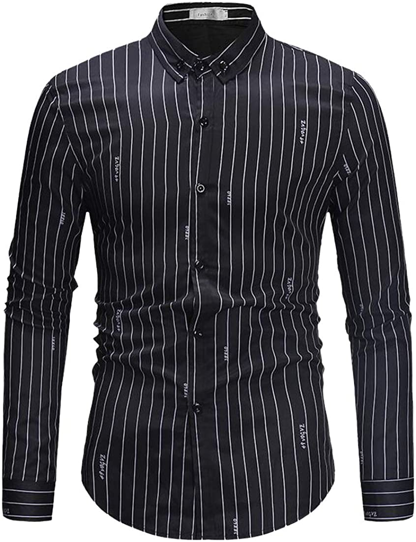 pipigo Mens Business Stripe Print Long Sleeve Casual Lapel Neck Button Down Dress Shirt