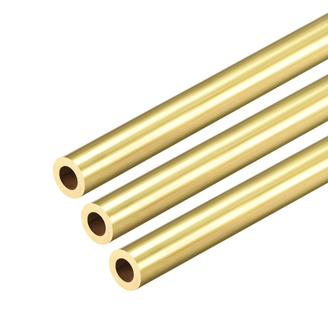uxcell Brass Round Tube 300mm Length 7mm OD 1.5mm Wall Thickness Seamless Straight Pipe Tubing 3 Pcs
