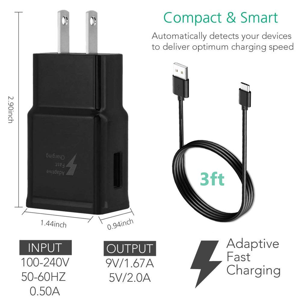 Quick Charge USB Wall Charger Compatible with Samsung Galaxy S10 Plus// S10// S9 Plus// S9// S8// Note 9// Note 8 Adaptive Fast Charger Kit 2 Type-C Cables 2 Wall Chargers Charge up to 50/% Faster Black