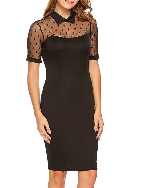 a6a4b85d541 ACEVOG Women s Ruffles Short Sleeve Wear to Work Office Bodycon ...