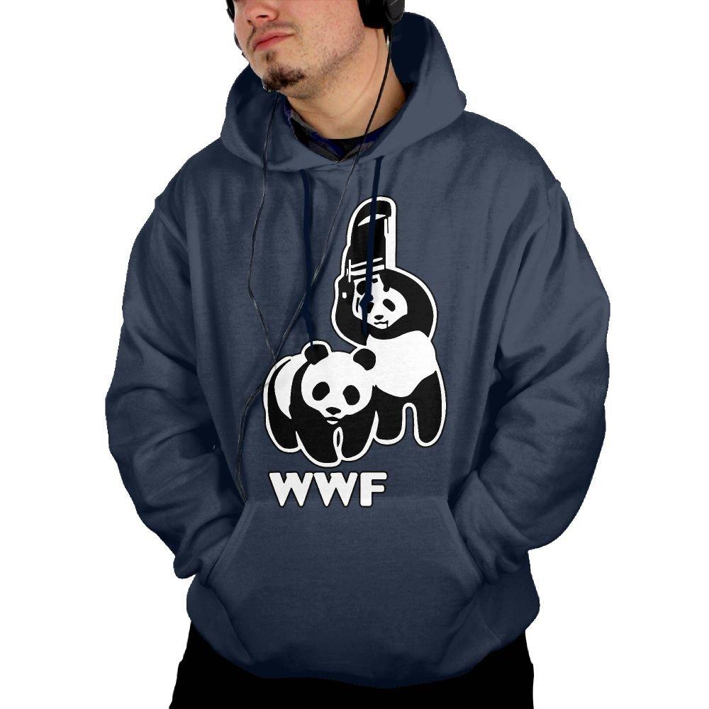 NYY&088 Men's Cozy Fleece, WWF Funny Panda Bear Wrestling Coat With Pockets by NYY&088