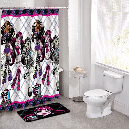 Good 14 Pieces Monster High Bath Set Bathroom Mat Peva Shower Curtain And Hooks