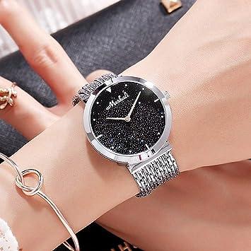 NICEWATCH Reloj Dama Lleno de Estrellas, Rosa, Dorado, Borla, Tendencia de la