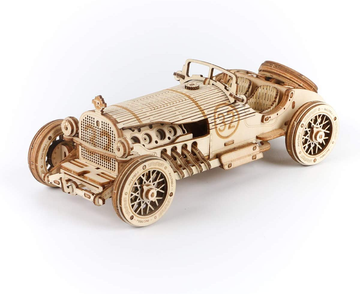 Grand Prix Car ROKR 3D Wooden Puzzle-Mechanical Car Model-Self Building Vehicle Kits-Brain Teaser Toys-Best Gift for Adults and Kids on Birthday//Christmas Day