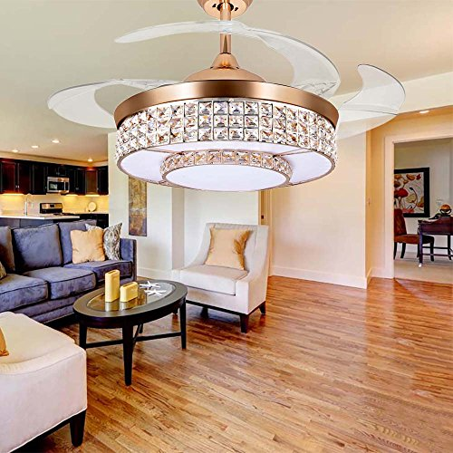 Tipton light ceiling fans 42 inch 4 retractable blades led ceiling tipton light ceiling fans 42 inch 4 retractable blades led ceiling fan crystal chandelier with remote aloadofball Images