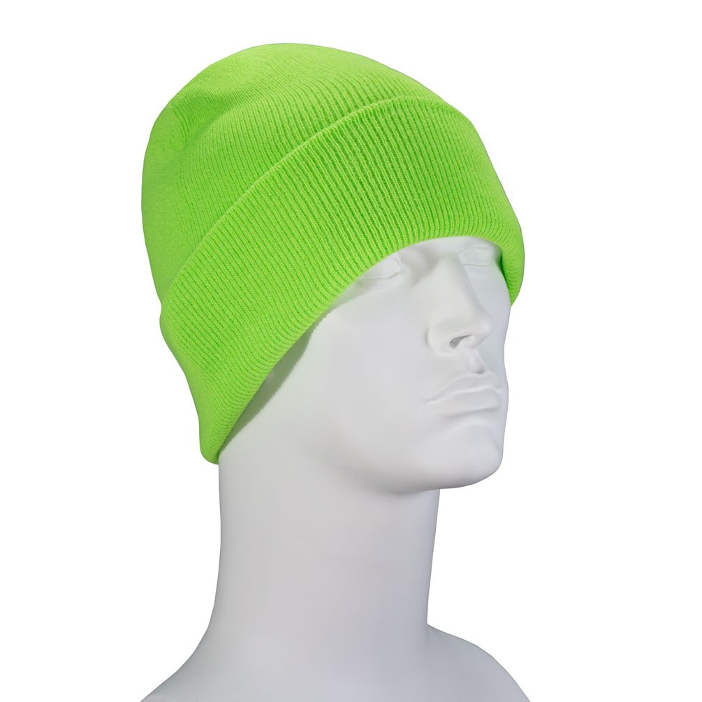 100% Soft Acrylic - Safety Green Dozen Packed Solid Color Beanie Classic Cuffed Winter Hat - Unisex Plain Skull Knit Cap - Made in USA