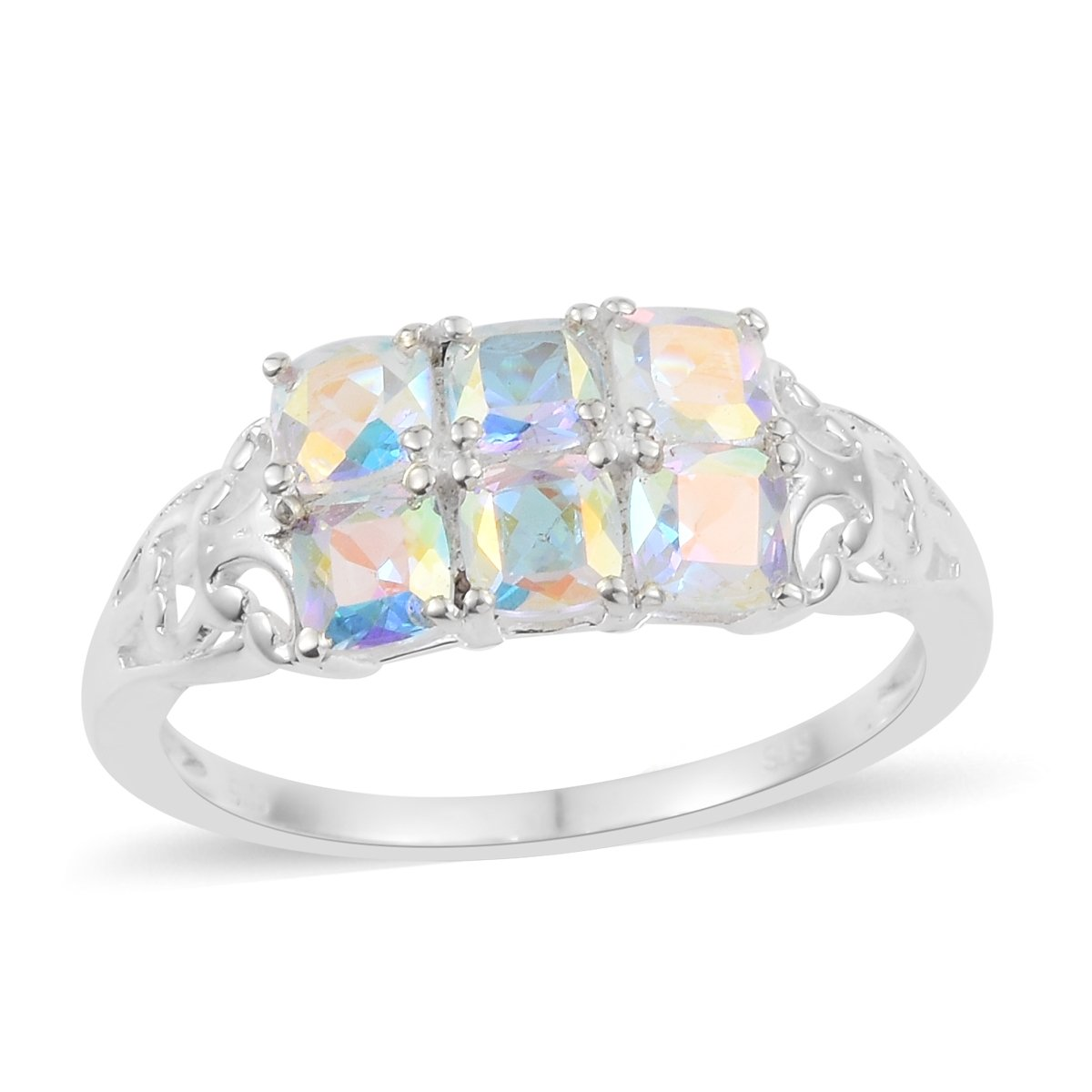 925 Sterling Silver 1.7 Cttw Cushion Mercury Mystic Coated Topaz Fashion Ring For Women Size 7