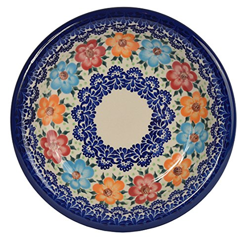 Traditional Polish Pottery, Handcrafted Ceramic Soup or Pasta Plate 22cm, Boleslawiec Style Pattern, T.201.BLUELACE