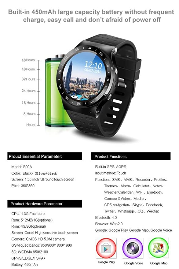 Amazon.com : 3G Smart Watch Cell Phone, Bluetooth Wristwatch, Support WiFi GPS 5.0MP Camera SIM Card Heart Rate Monitor Pedometer Google Map, Smartwatch for ...