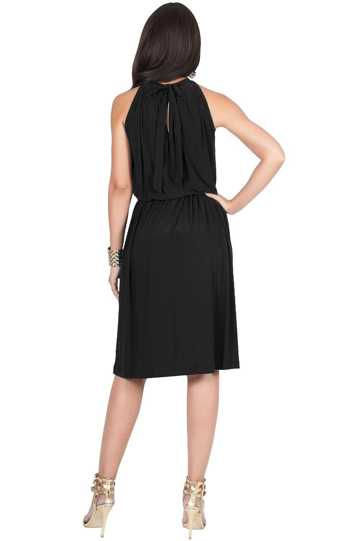 080dd78d6aa Koh Koh Womens Sleeveless Halter Neck Flowy Work Knee Length Day Sexy Midi  Dress  Amazon.ca  Clothing   Accessories